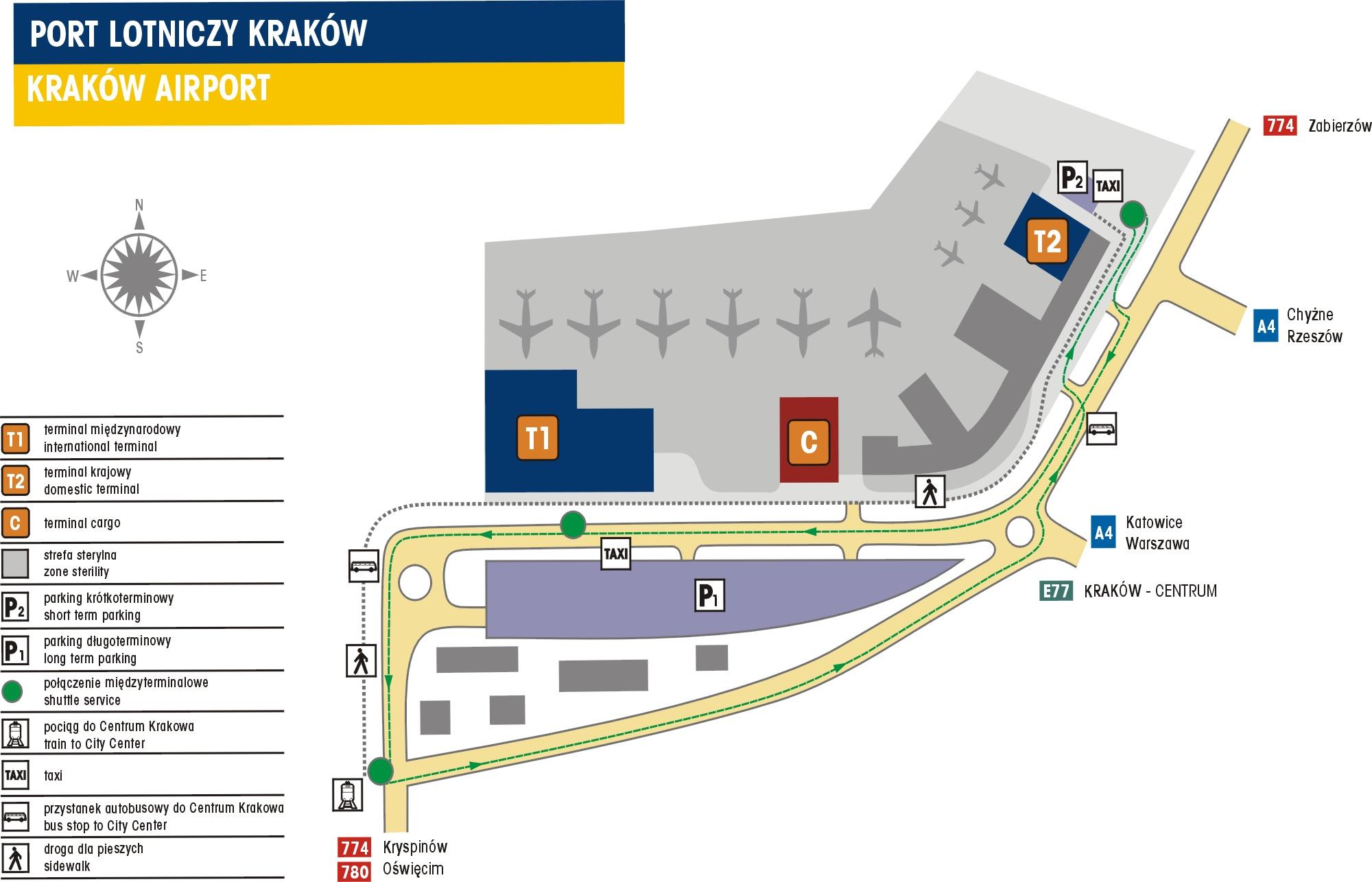 Krakow Airport Terminal Map FCAL 2008